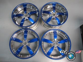 Four Forgiato Ito 20 Staggered Chrome Blue Custom Rims Wheels Lexus