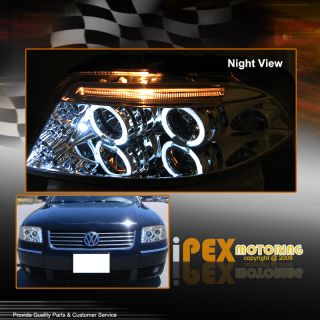 Twin Halo Rims Chrome LED Projector Headlights for VW 2001 2005 Passat