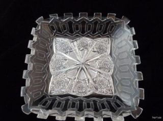 Stunning Art Deco abp Cut Glass Crystal Square Bowl Dish