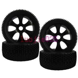 4pcs RC 1 8 Off Road Buggy Car Rubber Tyre Tires Wheel Rim Black 17mm