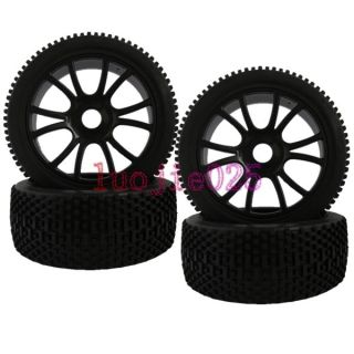 Off Road Car Buggy Rubber Tyre Tires & Plastic Wheel Rim black 84B 801