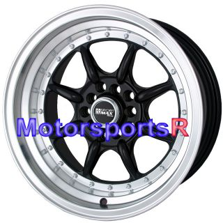 16 16x8 XXR 002 Black Rims Wheels Stance 5x114 3 Deep Dish Step Lip