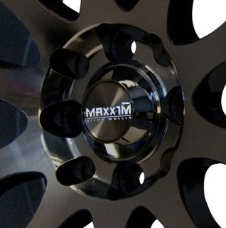 17x7 Maxxim Maze 5x110 115 ET40MM Rims Black Red Stripe Wheel