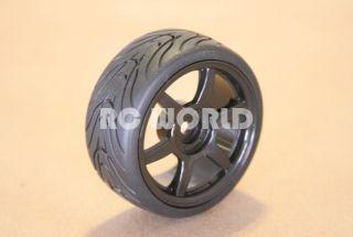 RC 1/10 CAR TIRES BLACK WHEELS RIMS PACKAGE SEMI  SLICKS KYOSHO TAMIYA