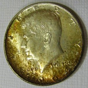Kennedy 50c Red Green Gold Toning CH BU Mikesartifacts 153