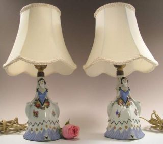 Old German Art Deco Porcelain Figurine Boudoir Lamps