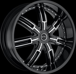 24 inch Stonz S06 Black Rims and Tires for 2000 and Up Jeep Grand