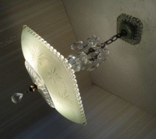 1930s Art Deco Jadite Green Glass Ceiling Light Fixture Chandelier