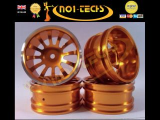RC 1 10 Gold 12 Spoke Real Alloy Wheels Nitro Brushless Drift Car