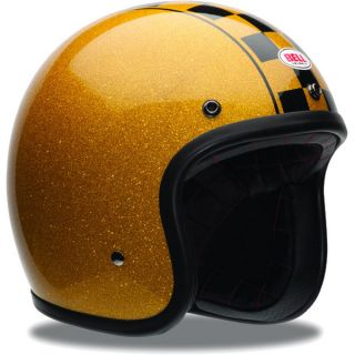 Bell Custom 500 Helmet Low Profile Motorcycle Cabbie Gold Black Size
