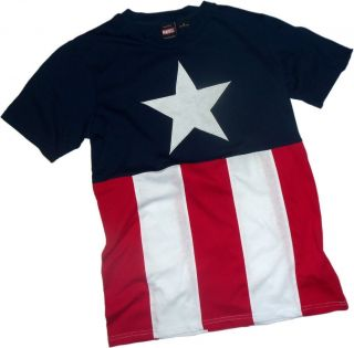 CAPTAIN AMERICA Cut and Sew Suit design Costume tee t Shirt NEW Marvel