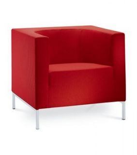 LD Seating Designer KUBIK Sessel Lounge vollgepolsterter Sessel in rot
