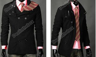Mens Slim Casual Double Breasted PEA Trench Hot Stylish Woolen Coat
