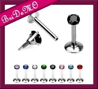 Lippenpiercing Labret with Prong Set Gem Top 1,2 x 8mm