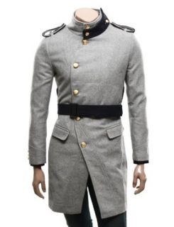 Doublju Mens Casual Golden Button Long Coat Clothing