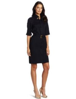 Anne Klein Womens Shirt Dress with Sash, Blue, 12