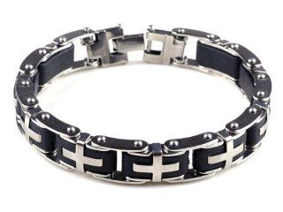 8.5 Mens Stainless Steel Bracelet Cross Black Rubber