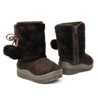 Toddlers Girls Faux Fur Winter Booties Suede Boots Brown , 12 Shoes