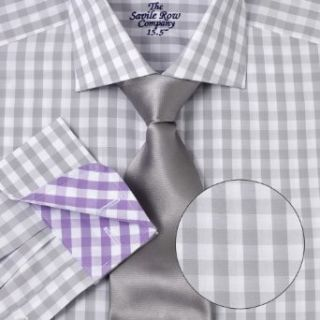 Savile Row Mens Grey White Gingham Fitted Dress Shirt