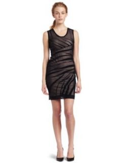 Nicole Miller Womens Mesh Over Powernet Dress, Black/Pink