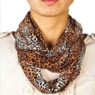 Brown Leopard Printed Circle Ring Infinity Scarf Clothing
