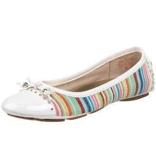 AK Anne Klein Womens Buttons2 Ballet Flat,White Multi,5 M US Shoes