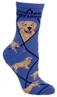Golden Retriever Dog Blue Cotton Ladies Socks Clothing