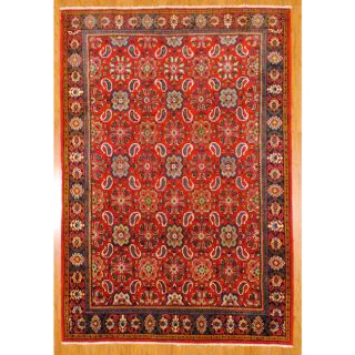 Hand knotted Red/ Navy Mahal Wool Rug (69 x 911)