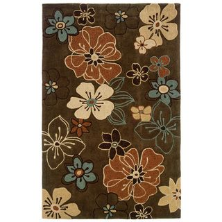 Indoor Brown/ Rust Transitional Floral Area Rug