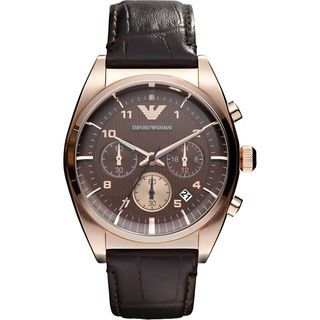 Emporio Armani Mens Brown/ Rose goldtone Watch