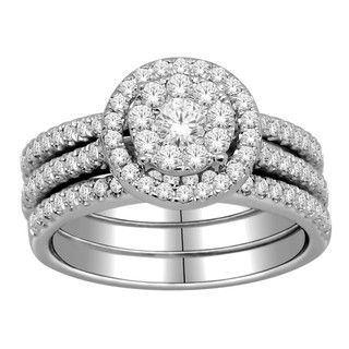 10k Gold 1ct TDW Diamond Halo Imperial Bridal Ring Set (H I, I2 I3