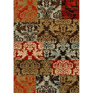 Patty Patchwork Non skid Rubber Backing Brown Multi Runner Area Rug