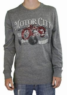 Lucky Brand Jeans Mens Motor City Iron Works T Shirt Gray