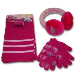 Disney Princess Girls Fuschia Earmuff, Scarf and Glove