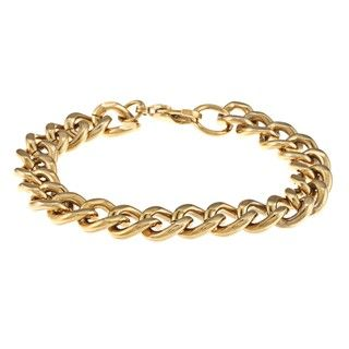 Stainless Steel and Gold IP Mens Curb Link Bracelet
