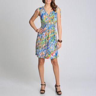 Lennie for Nina Leonard Womens Aztec Printed Sleeveless Dress