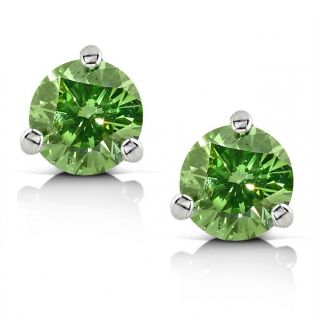14k White Gold 1ct TDW Green Diamond Stud Earrings
