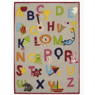 Hand carved Alexa Kids Alphabets and Letters Beige Wool Rug (5 x 7
