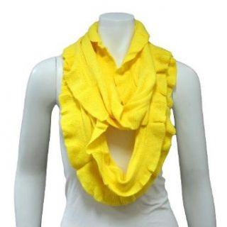Yellow Ruffled Edge Knit Loop Circle Ring Scarf Clothing
