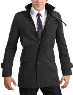 Doublju Mens Casual Golden Button Long Coat NAVY Clothing