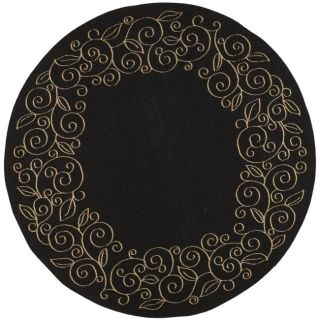Indoor/ Outdoor Black/ Sand Rug (67 Round)