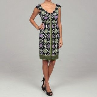 London Times Womens Green/ Purple Waterfall Dress