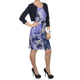 Sangria Womens Waterbrush Floral Print Dress Cropped Shrug Set