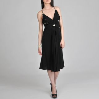 Janine of London Womens Black Embellished Cocktail Dress
