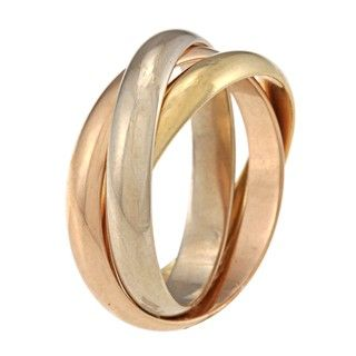 Cartier 18k Tri color Gold Classic Trinity Ring