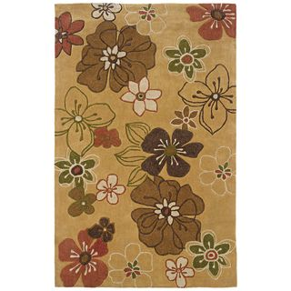 Indoor Yellow/ Brown Transitional Floral Area Rug