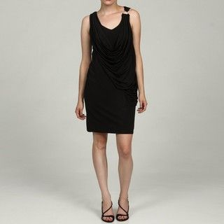 London Times Womens Black Draped Sleeveless Dress