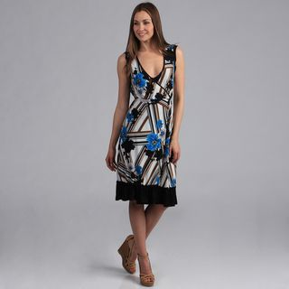 24/7 Comfort Apparel Womens Faux Wrap Print Dress