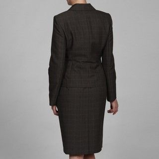 Evan Picone Womens Charcoal Three button Skirt Suit