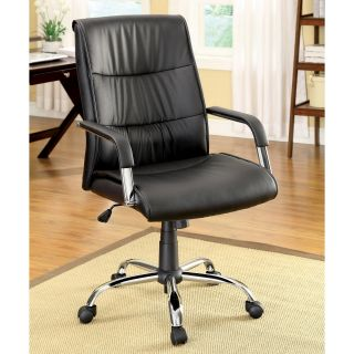 Black Contemporary Height Adjustable Leatherette Office Chair Today $